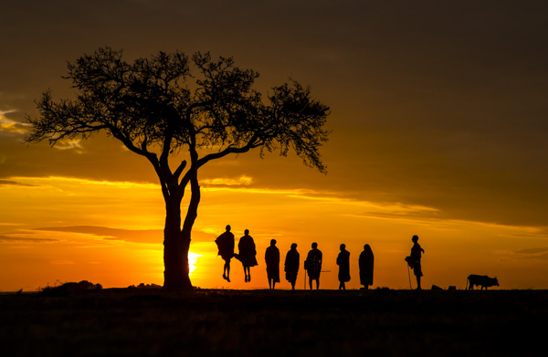 Jumping Massai at Sunrise