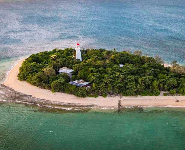tropical queensland photography tour low island from helicopter