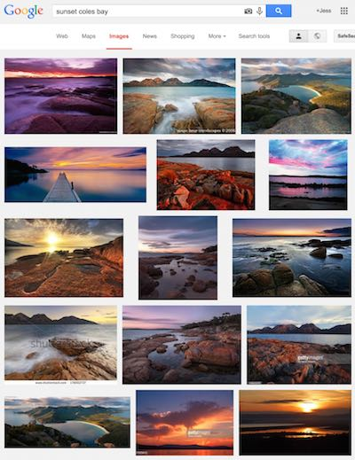 using google image search to find good landscape locations