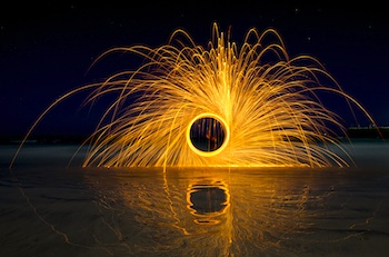 light fire wheel steel wool burning wheel