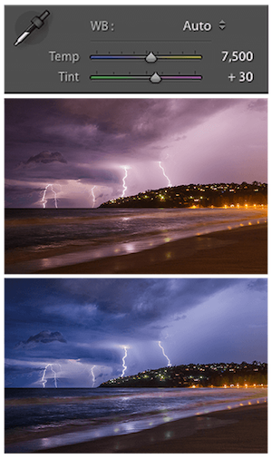 white balance for lightning